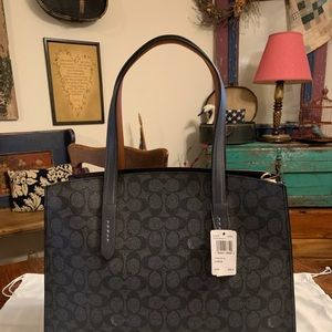 Coach Charlie Carryall Black Signature/Ink NWT!